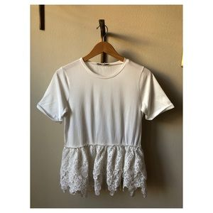 Simple White-Tee with Added Floral Accent